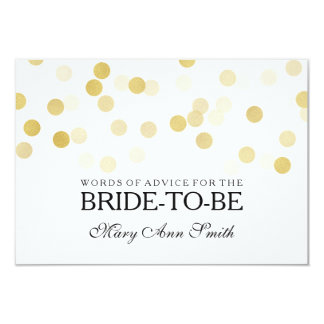 Advice Card Bridal Shower Faux Gold Foil Glitter