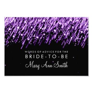 Advice Card Bridal Shower Purple Falling Stars