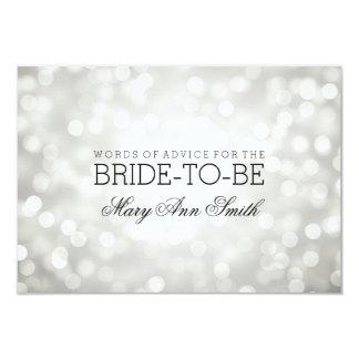 "Advice Card Bridal Shower Silver Glitter Lights 3.5"" X 5"" Invitation Card"