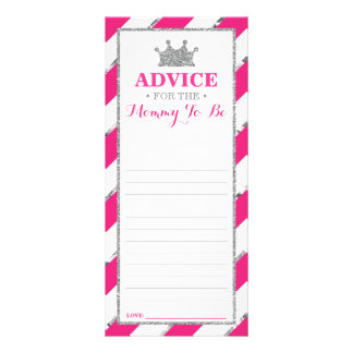 Advice Card for Mom-To-Be, Baby Shower Faux Silver