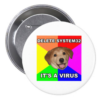 Advice Dog says: Delete the Virus 3 Inch Round Button