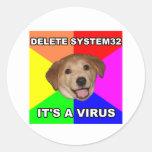 Advice Dog says: Delete the Virus Round Sticker