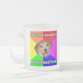 Advice Dog Swallow Magnets Frosted Glass Coffee Mug