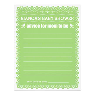 Advice for Mom To Be Green Papel Picado Shower Letterhead