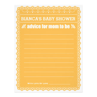 Advice for Mom To Be Orange Papel Picado Shower Letterhead