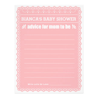 Advice for Mom To Be Pink Papel Picado Baby Shower Letterhead