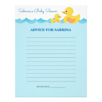 Advice for Mom To Be Rubber Duck Baby Shower Game Letterhead