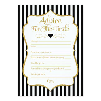 Advice For The Bride Black Gold Bridal Shower Game Card