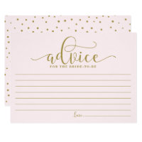 Advice for the Bride | Gold & Pink Calligraphy Card