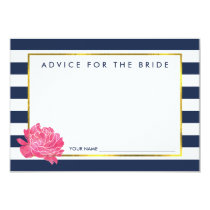 Advice for the Bride | Navy Stripe & Pink Peony Card