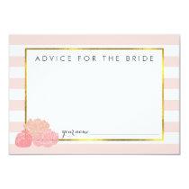 Advice for the Bride | Pink Stripe & Blush Peony 3.5x5 Paper Invitation Card