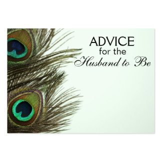 Advice for the Husband to Be Peacock Feather Cards Large Business Card