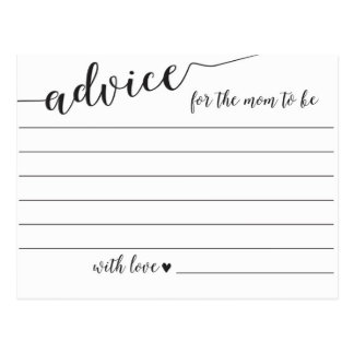 Advice for the Mom to Be Baby Shower Cards