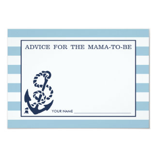 Advice for the Mom to Be | Blue Nautical Stripe 3.5x5 Paper Invitation Card
