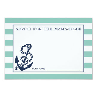 Advice for the Mom to Be | Mint Nautical Stripe 3.5x5 Paper Invitation Card