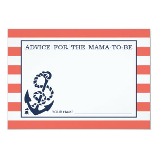 Advice for the Mom to Be | Red Nautical Stripe 3.5x5 Paper Invitation Card