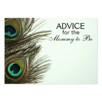 Advice for the Mommy to Be Peacock Feather Cards Business Card Template