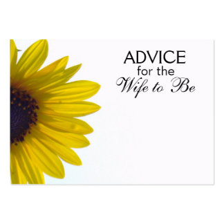 Advice for the Wife to Be Giant Sunflower Cards Business Card Templates