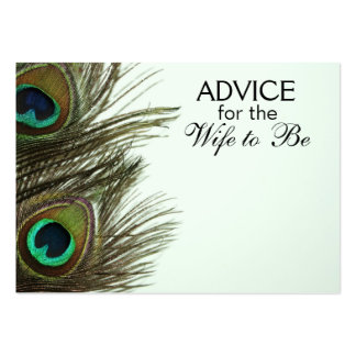 Advice for the Wife to Be Peacock Feather Cards Business Card Template