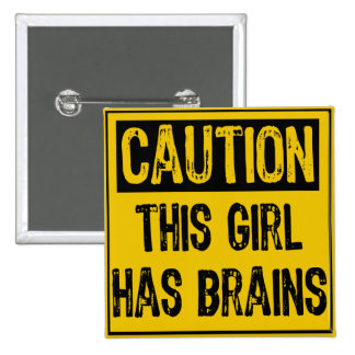 advierta a este chica tiene cerebros pin cuadrada 5 cm