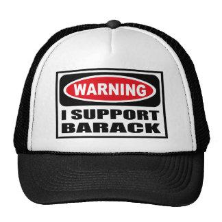 Advirtiendo APOYO el gorra de BARACK