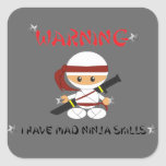 Advirtiendo tengo habilidades enojadas de Ninja - Pegatinas Cuadradases