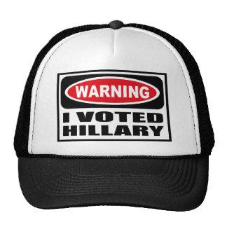 Advirtiendo VOTÉ el gorra de HILLARY