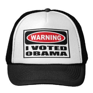 Advirtiendo VOTÉ el gorra de OBAMA