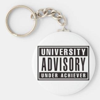 Advisory de la universidad debajo del cumplidor llavero redondo tipo pin