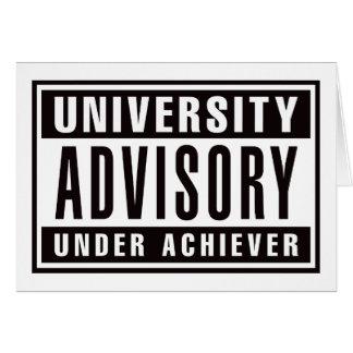 Advisory de la universidad debajo del cumplidor tarjeta de felicitación