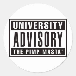 Advisory de la universidad el chulo Masta Pegatina Redonda
