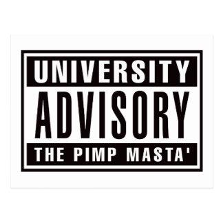 Advisory de la universidad el chulo Masta Tarjeta Postal