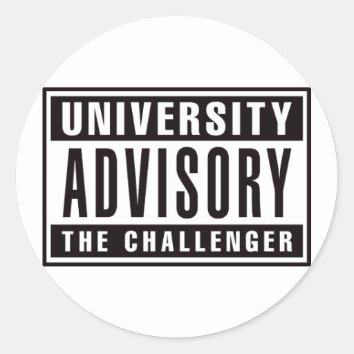Advisory de la universidad el desafiador etiquetas redondas
