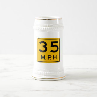 Advisory Speed English, Traffic Warning Sign, USA Beer Stein