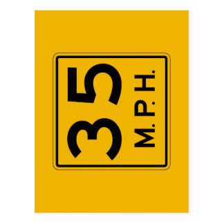 Advisory Speed English, Traffic Warning Sign, USA Postcard