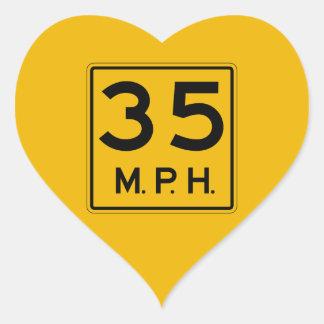 Advisory Speed English, Traffic Warning Sign, USA Heart Stickers
