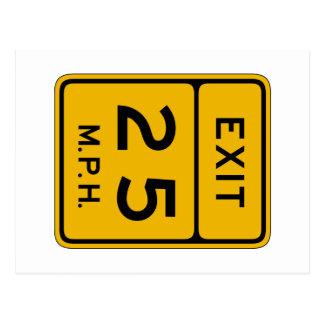 Advisory Speed Exit English, Traffic Sign, USA Postcard