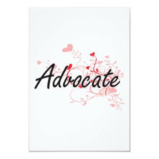 Advocate Artistic Job Design with Hearts 3.5x5 Paper Invitation Card