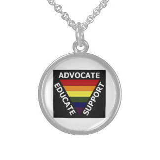 Advocate Educate Support Gay rights Sterling Silver Necklace