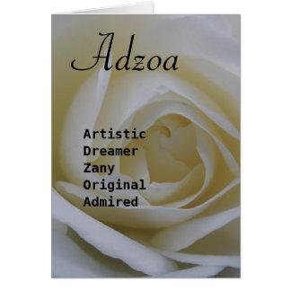 Adzoa Girls name Card