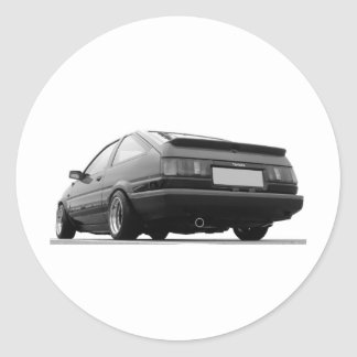 AE86 Black & White Classic Round Sticker