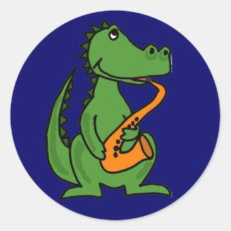 AE cocodrilo que juega a los pegatinas del saxofón