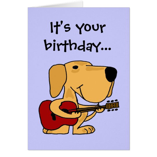 AE Dog Playing Guitar Happy Birthday Card – Happy Birthday Cards with Dogs