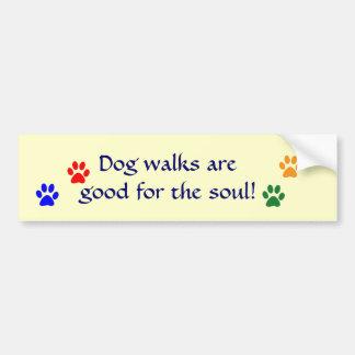 AE- Dog walks paws bumper sticker Car Bumper Sticker