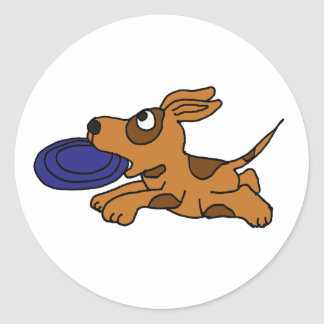AE- Funny Brown Puppy Dog Catching Frisbee Classic Round Sticker
