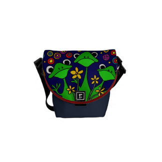 AE- Funny Frogs Folk Art Mini Messenger bag