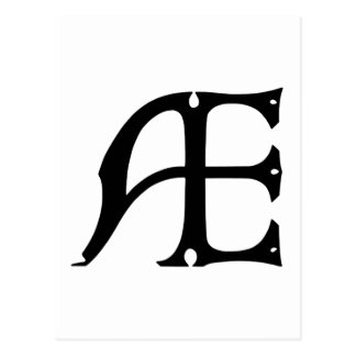 AE Monogram - Initials AE in Gothic Style Letters Postcard