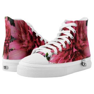 Aechmea Flower Zipz High Top Shoes,White
