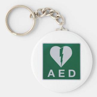 AED Defibrillator symbol Basic Round Button Keychain