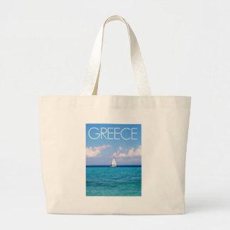 Aegean sea large tote bag